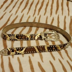 Genuine Leather western rhinestone belt